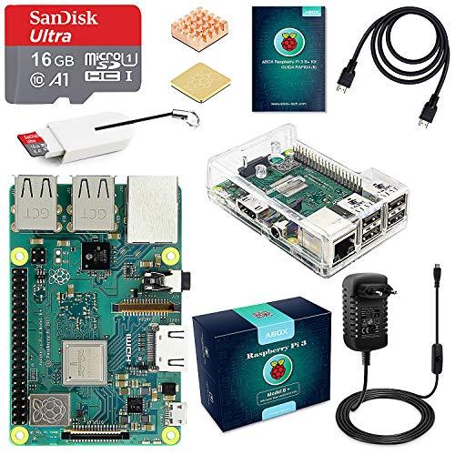 raspberryitalia abox raspberry pi 3 b starter kit scheda madre con microsd card 16gb sandisk