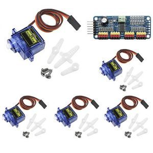 raspberryitalia keeyees 5pcs sg90 9g micro servomotore con pca9685 modulo 16 canali 12 bit