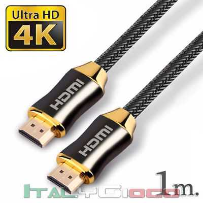 Cavo HDMI Premium High Speed V2.0 Ultra HD TV 2160p 4K 3D Arc 1 m Colore Nero