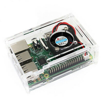 Clear Case with Cooling Fan for Raspberry Pi Model B+, Pi 2 & 3 B - By TRIXES