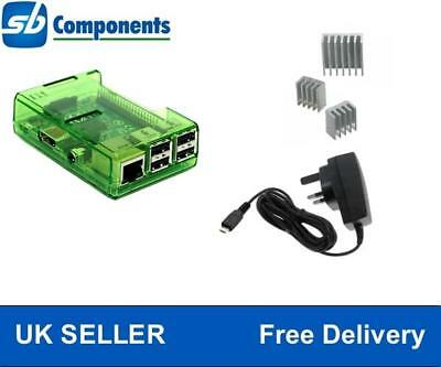 Green Raspberry Pi Case for Model B+/ Pi2 with 1A Power Supply + 3pcs Heat Sink