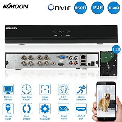 KKMOON 8CH FULL 960H/D1 DVR HVR NVR HDMI P2P NUBE ONVIF RETE VIDEO REGISTRATORE