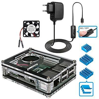 Miuzei Raspberry Pi 3 Case with Fan Cooling and 3×Aluminum Heatsinks, 5V (o8g)