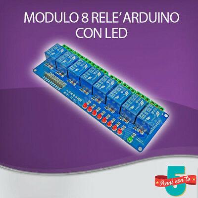 MODULO SCHEDA RELE' 8 CANALI OPTOISOLATI 10A 250V ARDUINO SHIELD 5Vdc CON LED