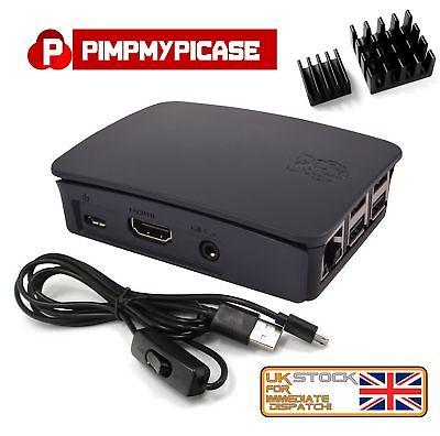 Raspberry Pi 3 & 2 B+ Starter Kit (Black Case, Power Cable, Heat sink) Retropie