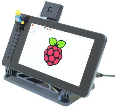 """Raspberry Pi 7"""" Touchscreen Case with Building Block Studs, Black - SMARTICASE"""
