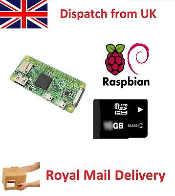 Raspberry Pi Zero Pi0 W WH WiFi Wireless & Rapbian 8GB MicroSD Soldered Header
