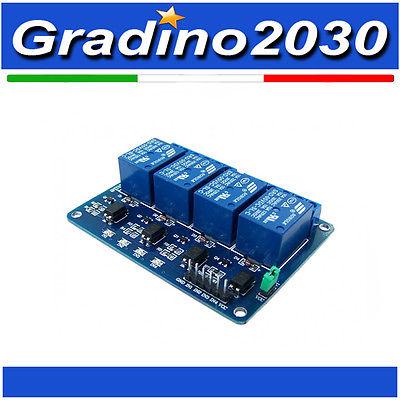 Relè 4 canali Relay modulo 5V per Arduino Raspberry Pi Pic Avr Arm MCU