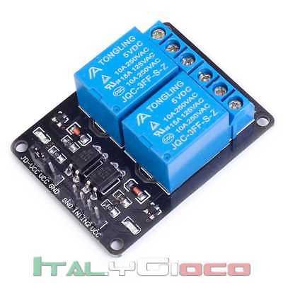 Relè Relay Relais Modulo 5V DC 2 CH Canali Optocoupler PIC AVR DSP per Arduino