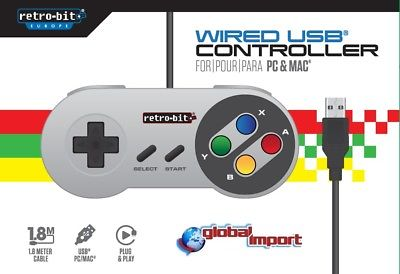SNES CLASSIC GAMEPAD USB PER WIN ANDROID MAC LINUX RETROPIE NINTENDO RETROBIT